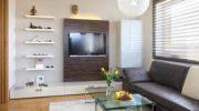 Дизайн стены с телевизором в гостиной (52 фото) как оформить стену, на какой высоте от пола вешать т