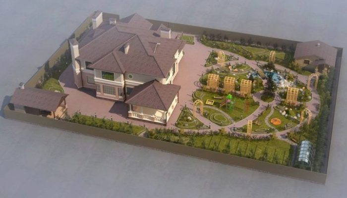 Ландшафтный дизайн двора частного дома (177 фото) современные красивые дворики с беседкой и проекты